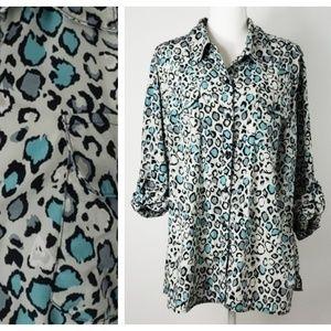 Kim Rogers : Aqua Leopard Print Button Down Shirt